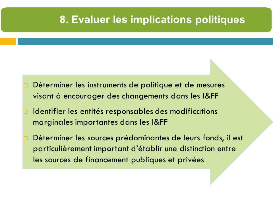 Déterminer les instruments de politique et de mesures visant à encourager des changements dans les I&FF Identifier les entités responsables des modifications marginales importantes dans les I&FF Déterminer les sources prédominantes de leurs fonds, il est particulièrement important détablir une distinction entre les sources de financement publiques et privées 8.