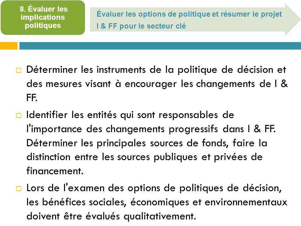 Évaluer les options de politique et résumer le projet I & FF pour le secteur clé 8.