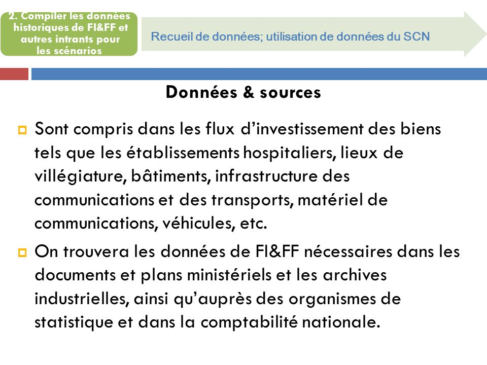 2. Compiler les données historiques de FI&FF et autres intrants pour les scénarios Recueil de données; utilisation de données du SCN Données & sources