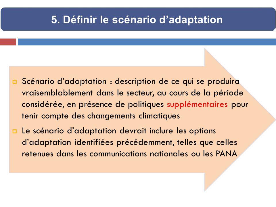 Scénario dadaptation : description de ce qui se produira vraisemblablement dans le secteur, au cours de la période considérée, en présence de politiqu