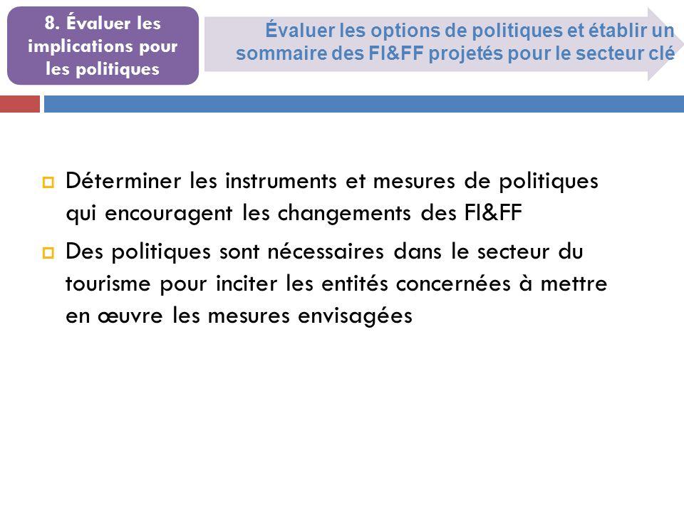 Évaluer les options de politiques et établir un sommaire des FI&FF projetés pour le secteur clé 8. Évaluer les implications pour les politiques Déterm