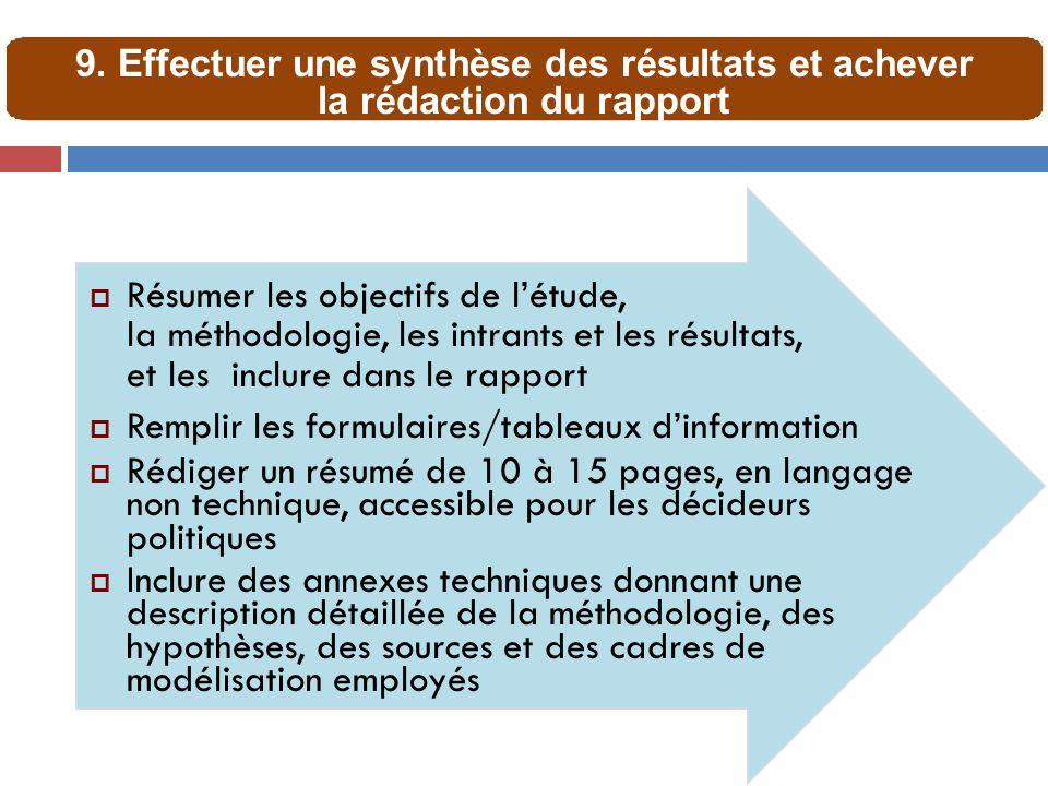 Résumer les objectifs de létude, la méthodologie, les intrants et les résultats, et les inclure dans le rapport Remplir les formulaires/tableaux dinfo
