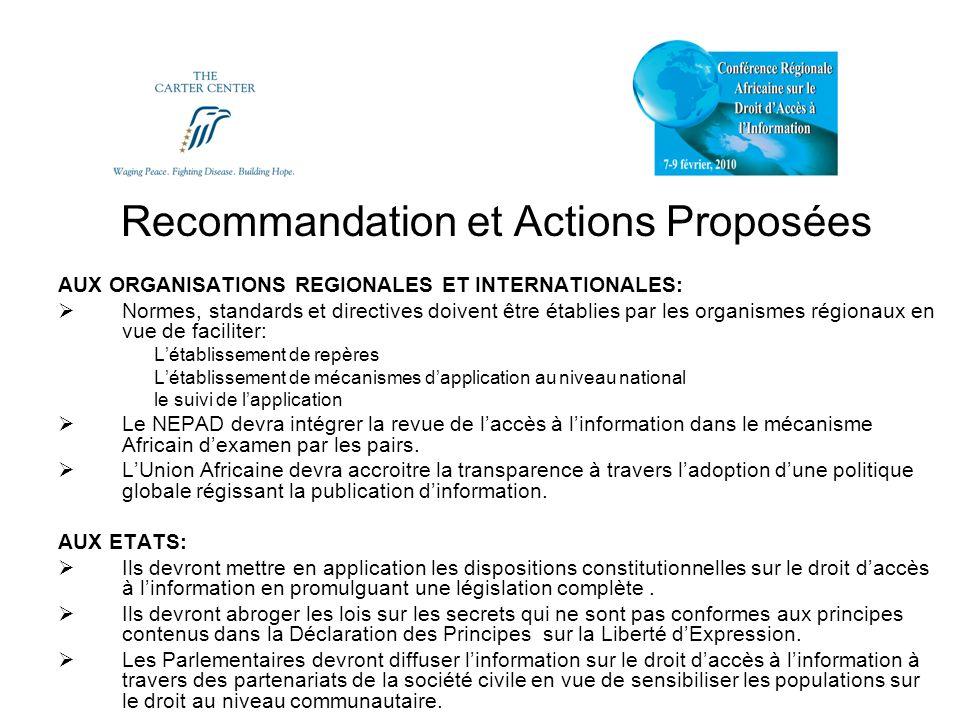 Recommandations et Actions Proposées AUX ACTEURS NON ETATIQUES: Analyser les chartes, déclarations, protocoles, Conventions et autres instruments en vue de déterminer leur étendue, application et leurs limites.