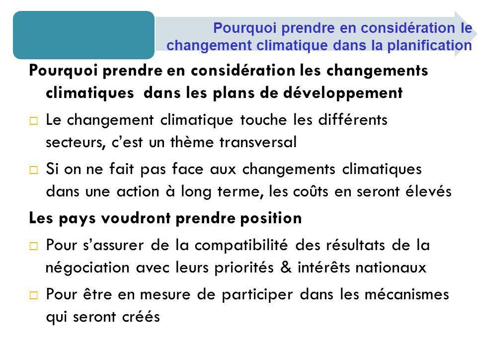 Feuille de route de Bali Se concentrer sur les 4 éléments constitutifs: Latténuation Ladaptation La mise au point et le transfert des technologies Les ressources financières et l investissement Contexte des négociations sur le changement climatique