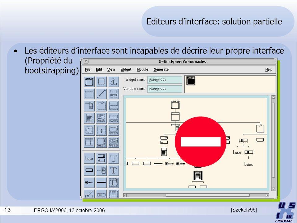 13 ERGO-IA2006, 13 octobre 2006 Editeurs dinterface: solution partielle Les éditeurs dinterface sont incapables de décrire leur propre interface (Prop
