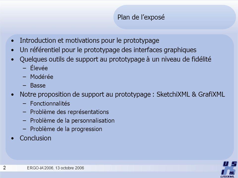 2 ERGO-IA2006, 13 octobre 2006 Plan de lexposé Introduction et motivations pour le prototypage Un référentiel pour le prototypage des interfaces graph