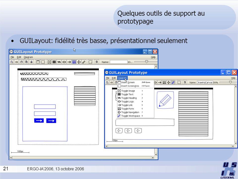 21 ERGO-IA2006, 13 octobre 2006 Quelques outils de support au prototypage GUILayout: fidélité très basse, présentationnel seulement