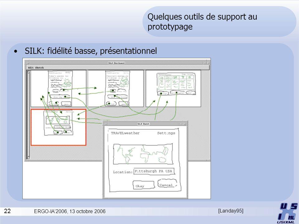22 ERGO-IA2006, 13 octobre 2006 Quelques outils de support au prototypage SILK: fidélité basse, présentationnel [Landay95]