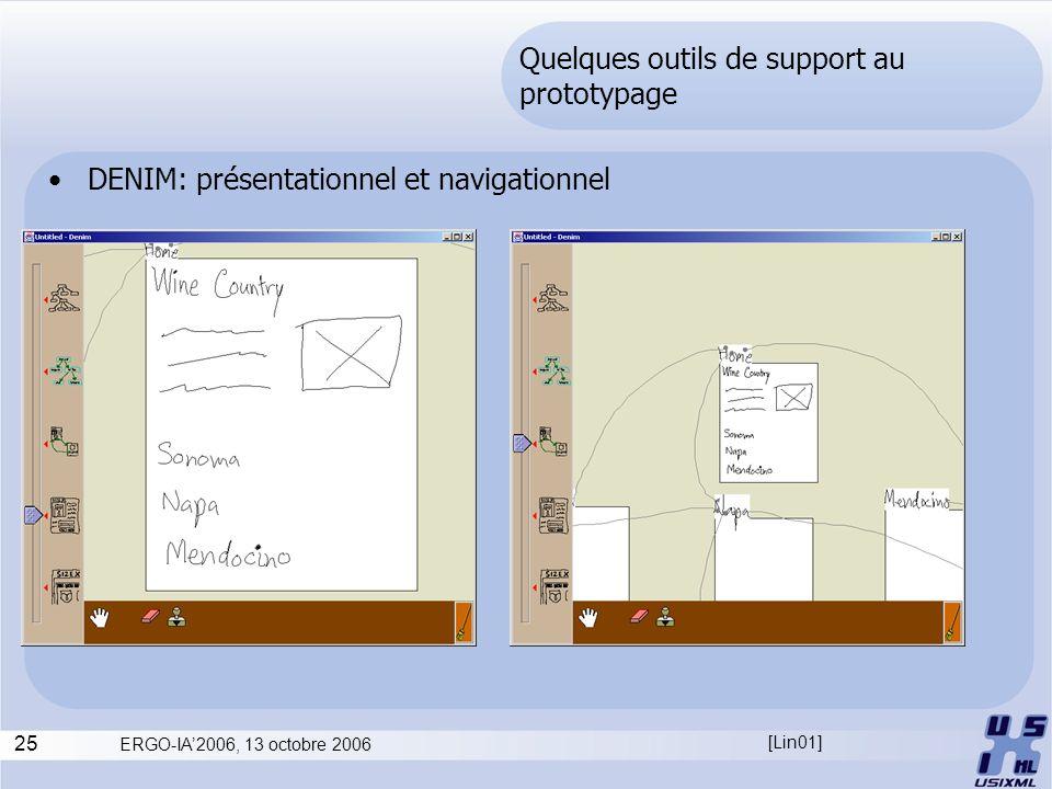 25 ERGO-IA2006, 13 octobre 2006 Quelques outils de support au prototypage DENIM: présentationnel et navigationnel [Lin01]