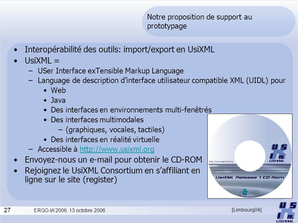 27 ERGO-IA2006, 13 octobre 2006 Notre proposition de support au prototypage Interopérabilité des outils: import/export en UsiXML UsiXML = –USer Interf