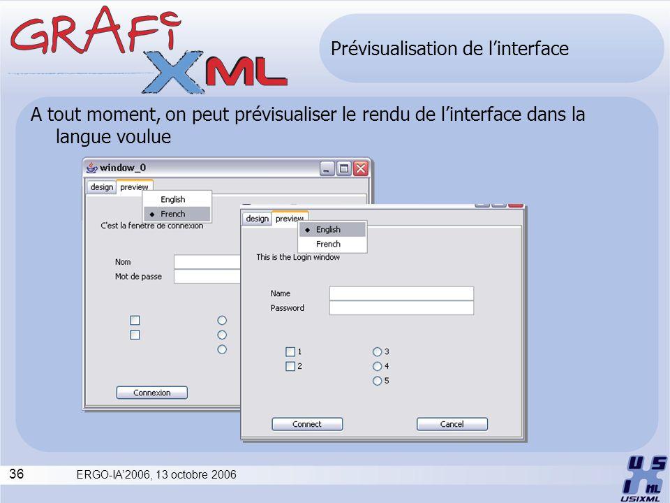 36 ERGO-IA2006, 13 octobre 2006 Prévisualisation de linterface A tout moment, on peut prévisualiser le rendu de linterface dans la langue voulue