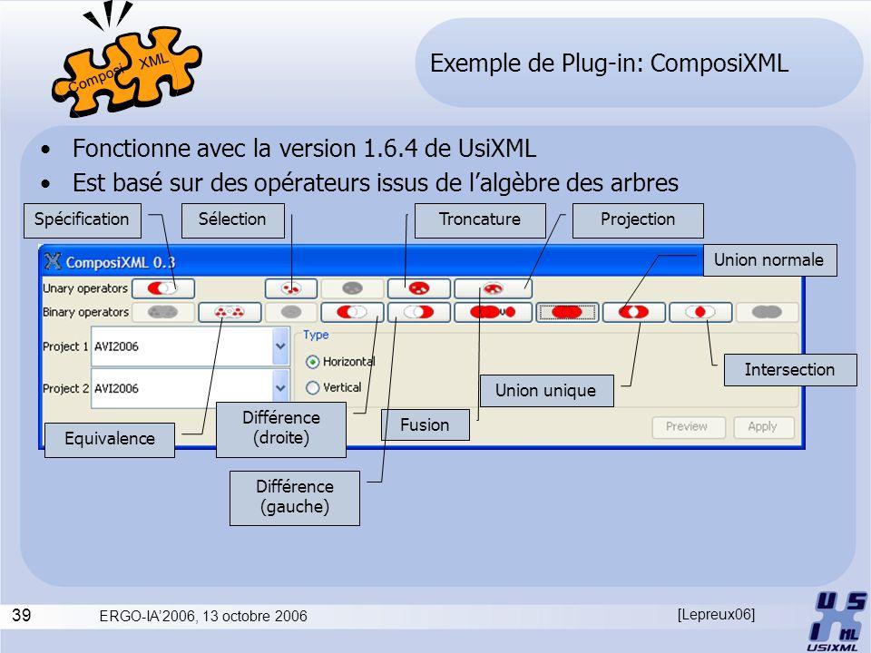 39 ERGO-IA2006, 13 octobre 2006 Exemple de Plug-in: ComposiXML Fonctionne avec la version 1.6.4 de UsiXML Est basé sur des opérateurs issus de lalgèbr