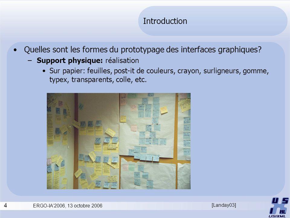 4 ERGO-IA2006, 13 octobre 2006 Introduction Quelles sont les formes du prototypage des interfaces graphiques? –Support physique: réalisation Sur papie