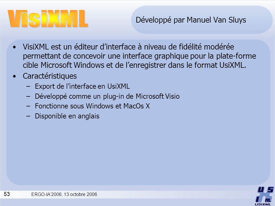 53 ERGO-IA2006, 13 octobre 2006 Développé par Manuel Van Sluys VisiXML est un éditeur dinterface à niveau de fidélité modérée permettant de concevoir