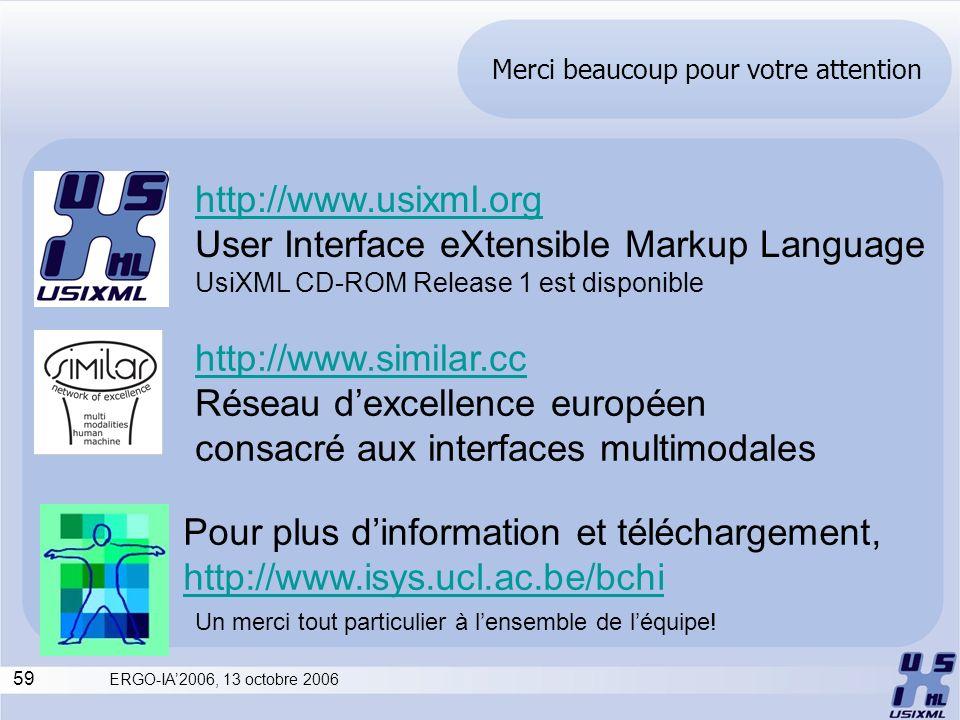 59 ERGO-IA2006, 13 octobre 2006 Merci beaucoup pour votre attention Pour plus dinformation et téléchargement, http://www.isys.ucl.ac.be/bchi http://ww