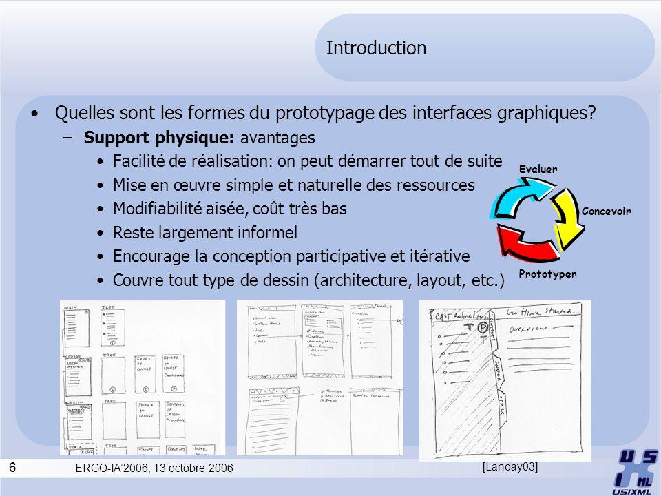 6 ERGO-IA2006, 13 octobre 2006 Introduction Quelles sont les formes du prototypage des interfaces graphiques? –Support physique: avantages Facilité de
