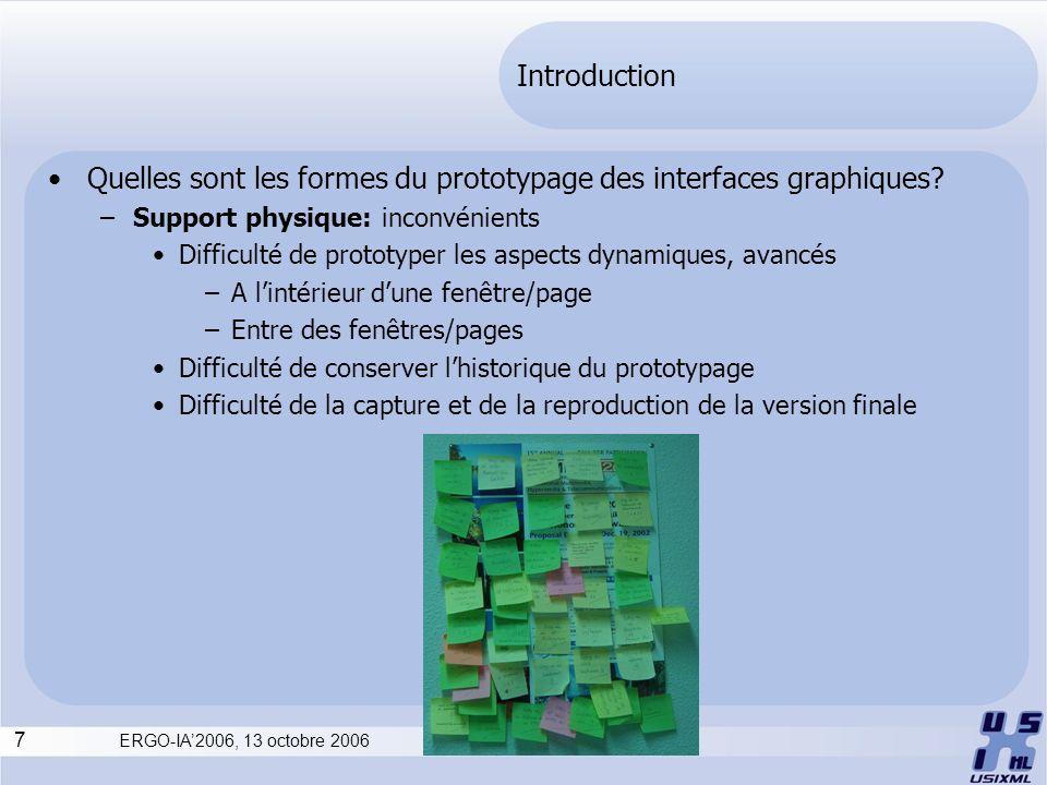 7 ERGO-IA2006, 13 octobre 2006 Introduction Quelles sont les formes du prototypage des interfaces graphiques? –Support physique: inconvénients Difficu