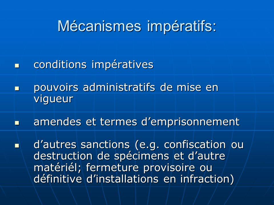 Mécanismes impératifs: conditions impératives conditions impératives pouvoirs administratifs de mise en vigueur pouvoirs administratifs de mise en vig
