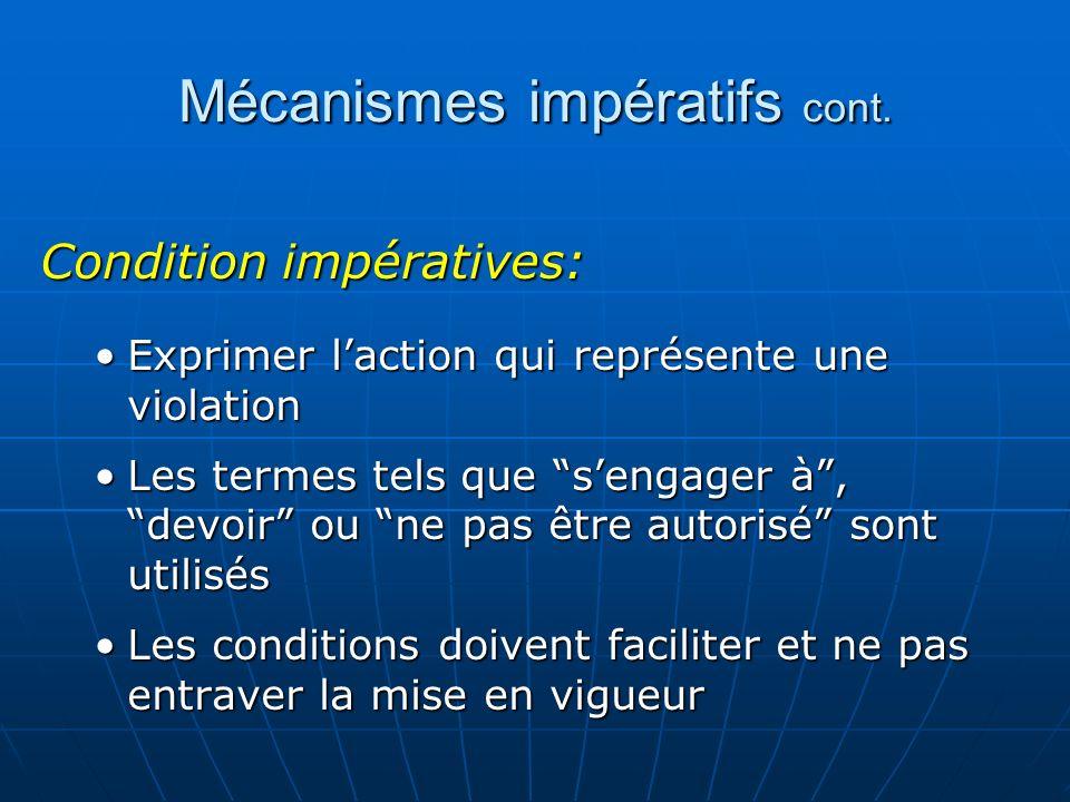 Mécanismes impératifs cont.
