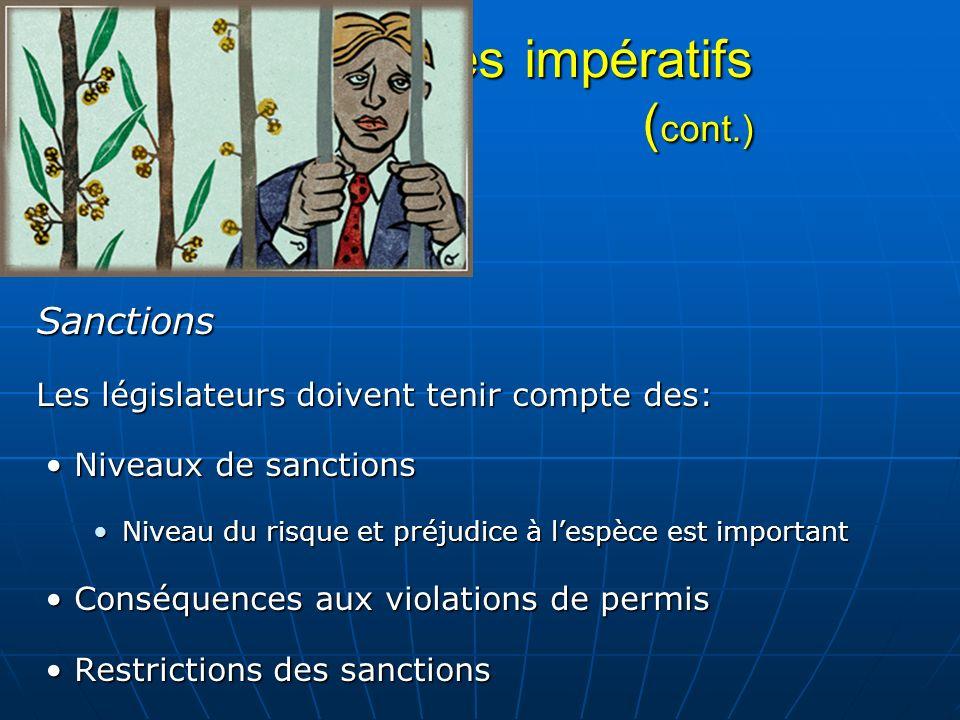 Mécanismes impératifs ( cont.) Sanctions Les législateurs doivent tenir compte des: Niveaux de sanctionsNiveaux de sanctions Niveau du risque et préju