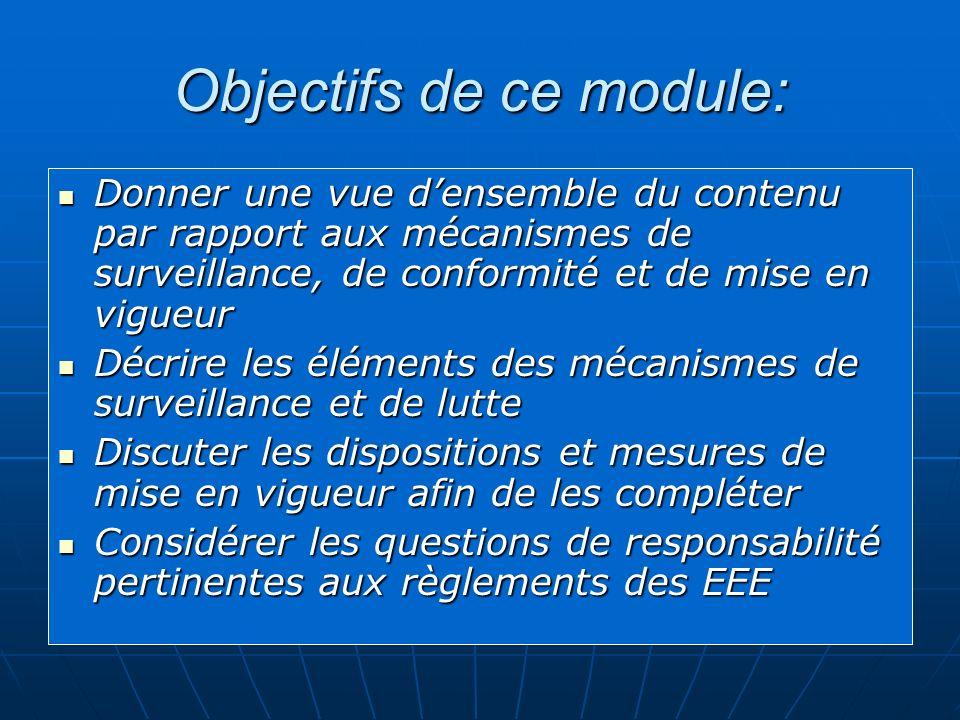 Objectifs de ce module: Donner une vue densemble du contenu par rapport aux mécanismes de surveillance, de conformité et de mise en vigueur Donner une vue densemble du contenu par rapport aux mécanismes de surveillance, de conformité et de mise en vigueur Décrire les éléments des mécanismes de surveillance et de lutte Décrire les éléments des mécanismes de surveillance et de lutte Discuter les dispositions et mesures de mise en vigueurafin de les compléter Discuter les dispositions et mesures de mise en vigueur afin de les compléter Considérer les questions de responsabilité pertinentes aux règlements des EEE Considérer les questions de responsabilité pertinentes aux règlements des EEE