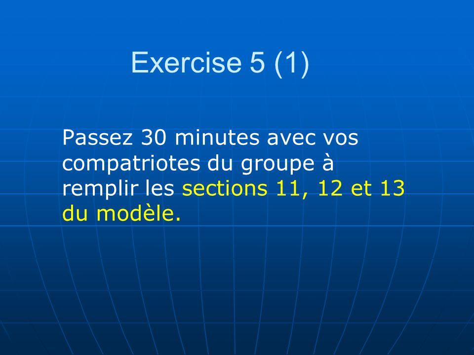 Exercise 5 (1) Passez 30 minutes avec vos compatriotes du groupe à remplir les sections 11, 12 et 13 du modèle.