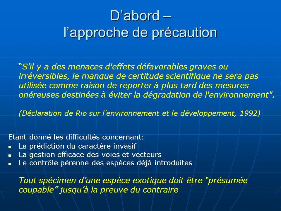 Dabord – lapproche de précaution S'il y a des menaces d'effets défavorables graves ou irréversibles, le manque de certitude scientifique ne sera pas u