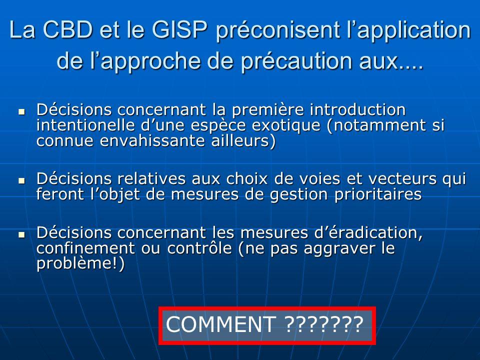 La CBD et le GISP préconisent lapplication de lapproche de précaution aux.... Décisions concernant la première introduction intentionelle dune espèce