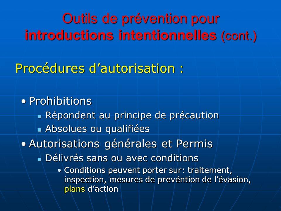 Outils de prévention pour introductions intentionnelles (cont.) Procédures dautorisation : ProhibitionsProhibitions Répondent au principe de précautio