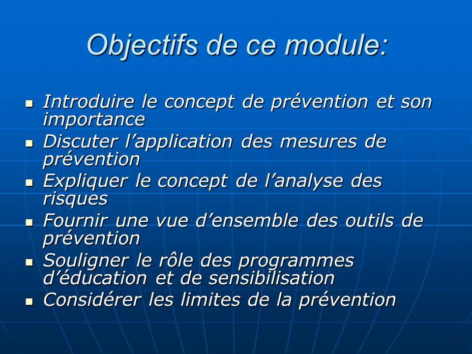Objectifs de ce module: Introduire le concept de prévention et son importance Introduire le concept de prévention et son importance Discuter lapplicat