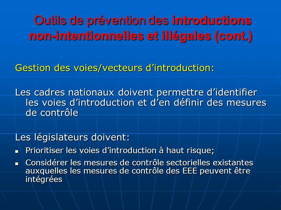 Outils de prévention des introductions non-intentionnelles et illégales (cont.) Outils de prévention des introductions non-intentionnelles et illégale