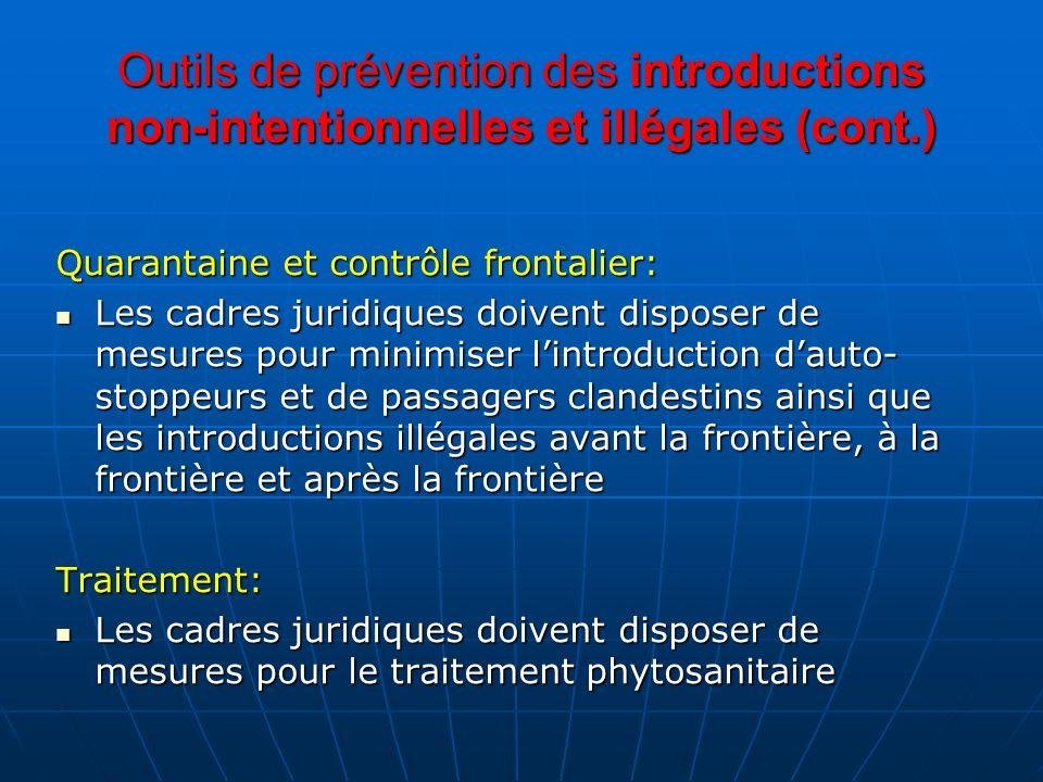 Outils de prévention des introductions non-intentionnelles et illégales (cont.) Quarantaine et contrôle frontalier: Les cadres juridiques doivent disp