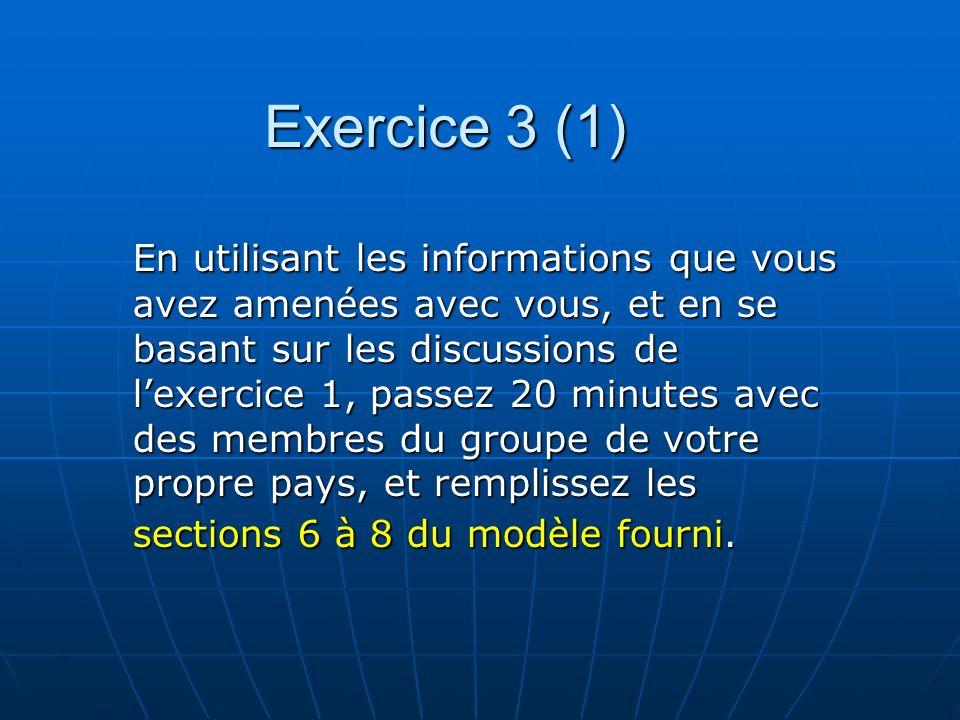Exercice 3 (1) En utilisant les informations que vous avez amenées avec vous, et en se basant sur les discussions de lexercice 1, passez 20 minutes av