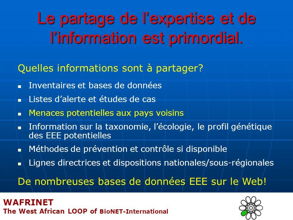 Le partage de lexpertise et de linformation est primordial. Quelles informations sont à partager? Inventaires et bases de données Listes dalerte et ét
