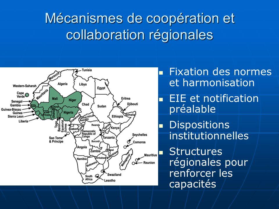Mécanismes de coopération et collaboration régionales Fixation des normes et harmonisation EIE et notification préalable Dispositions institutionnelle