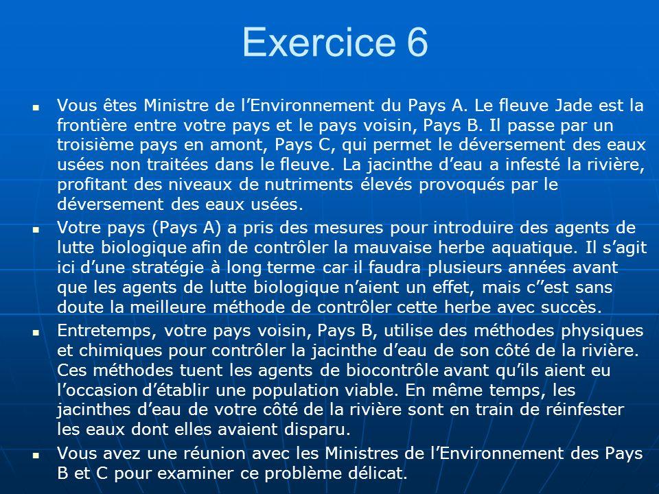 Exercice 6 Vous êtes Ministre de lEnvironnement du Pays A. Le fleuve Jade est la frontière entre votre pays et le pays voisin, Pays B. Il passe par un