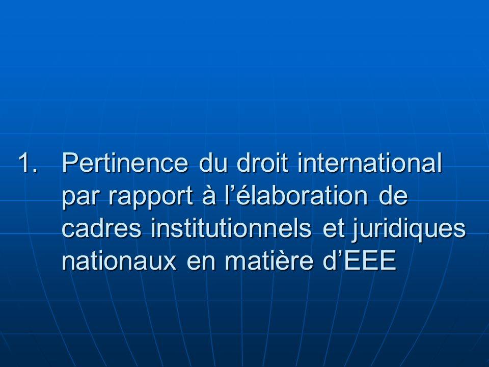 1.Pertinence du droit international par rapport à lélaboration de cadres institutionnels et juridiques nationaux en matière dEEE
