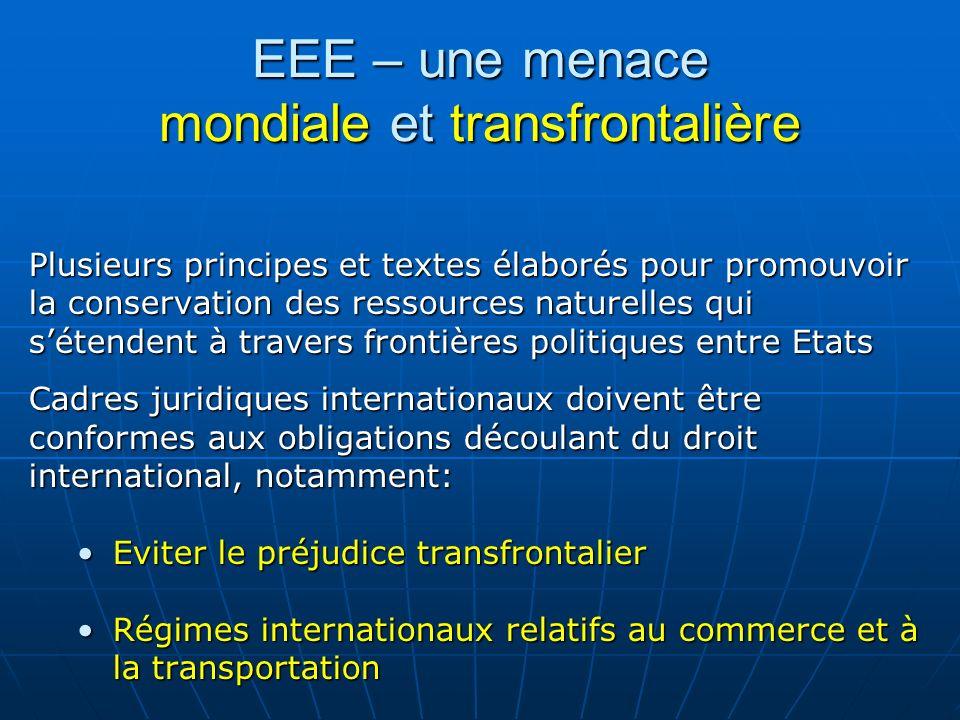 EEE – une menace mondiale et transfrontalière Plusieurs principes et textes élaborés pour promouvoir la conservation des ressources naturelles qui sét