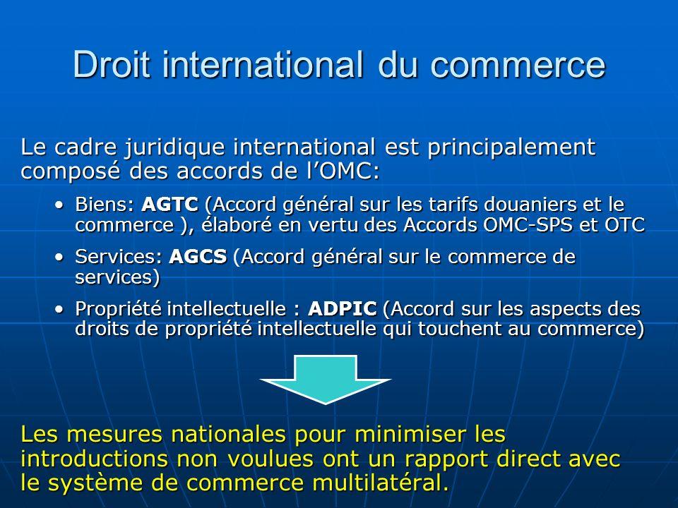 Droit international du commerce Le cadre juridique international est principalement composé des accords de lOMC: Biens: AGTC (Accord général sur les t
