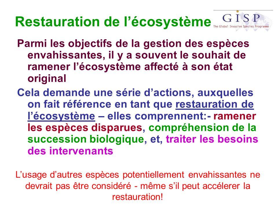 Restauration de lécosystème Parmi les objectifs de la gestion des espèces envahissantes, il y a souvent le souhait de ramener lécosystème affecté à so
