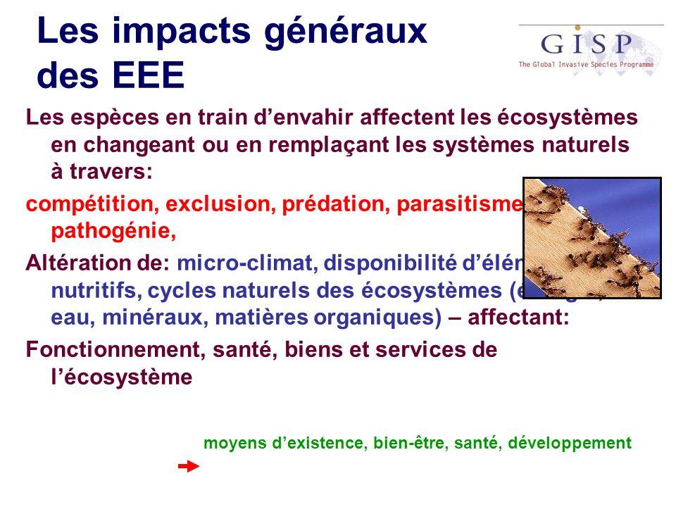 Les impacts généraux des EEE Les espèces en train denvahir affectent les écosystèmes en changeant ou en remplaçant les systèmes naturels à travers: co