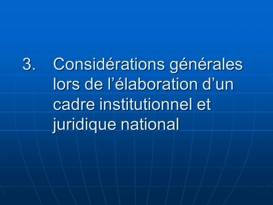 3.Considérations générales lors de lélaboration dun cadre institutionnel et juridique national
