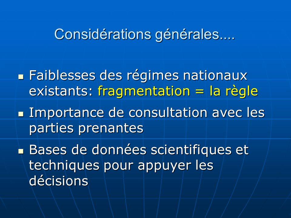 Considérations générales.... Faiblesses des régimes nationaux existants: fragmentation = la règle Faiblesses des régimes nationaux existants: fragment