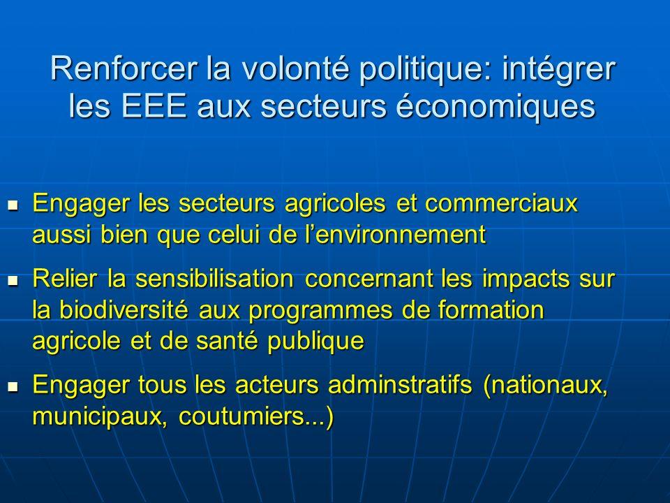 Renforcer la volonté politique: intégrer les EEE aux secteurs économiques Engager les secteurs agricoles et commerciaux aussi bien que celui de lenvir