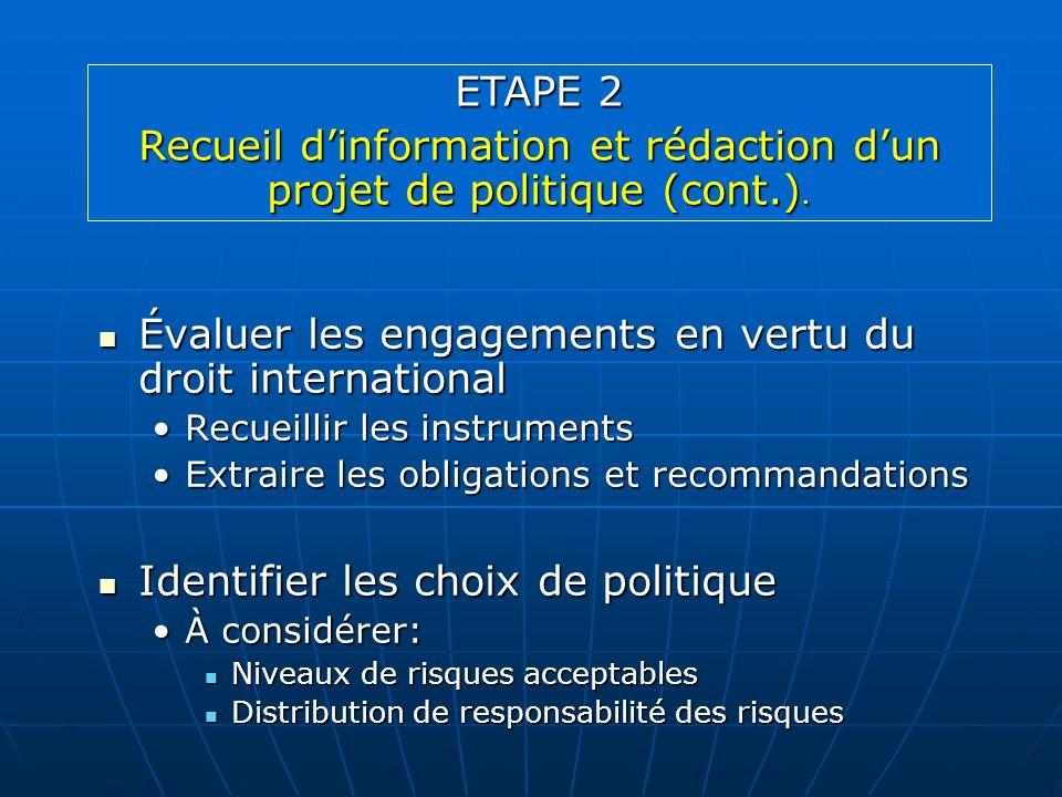Évaluer les engagements en vertu du droit international Évaluer les engagements en vertu du droit international Recueillir les instrumentsRecueillir l