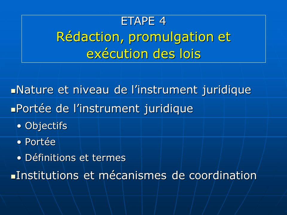 Nature et niveau de linstrument juridique Nature et niveau de linstrument juridique Portée de linstrument juridique Portée de linstrument juridique Ob