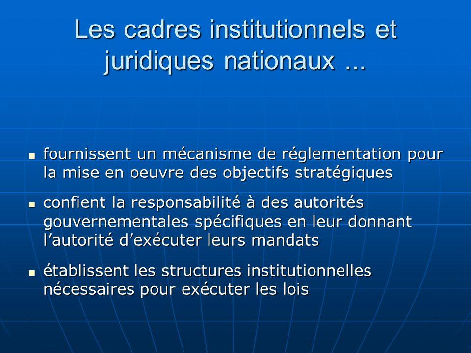 Les cadres institutionnels et juridiques nationaux... fournissent un mécanisme de réglementation pour la mise en oeuvre des objectifs stratégiques fou