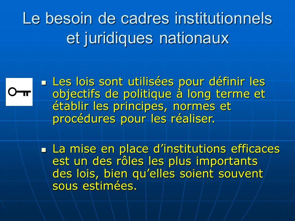 Le besoin de cadres institutionnels et juridiques nationaux Les lois sont utilisées pour définir les objectifs de politique à long terme et établir le
