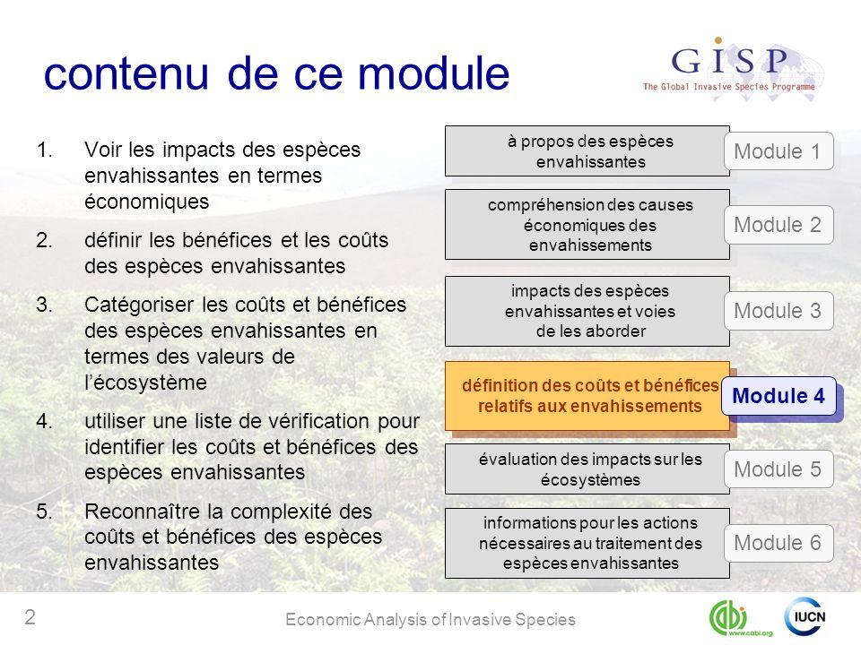 Economic Analysis of Invasive Species 2 contenu de ce module 1.Voir les impacts des espèces envahissantes en termes économiques 2.définir les bénéfice