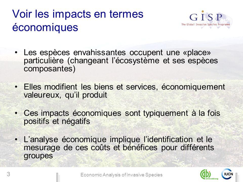 Economic Analysis of Invasive Species 3 Voir les impacts en termes économiques Les espèces envahissantes occupent une «place» particulière (changeant
